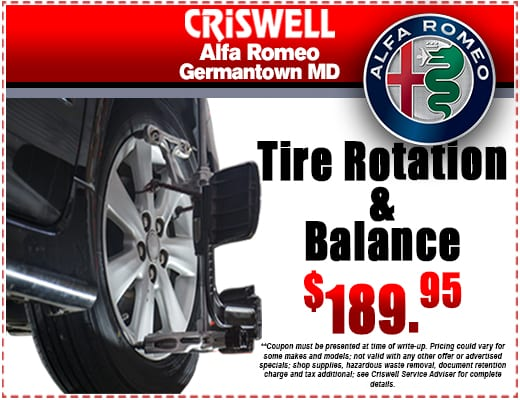 Tire Rotation Balance Criswell Alfa Romeo Specials Germantown Md